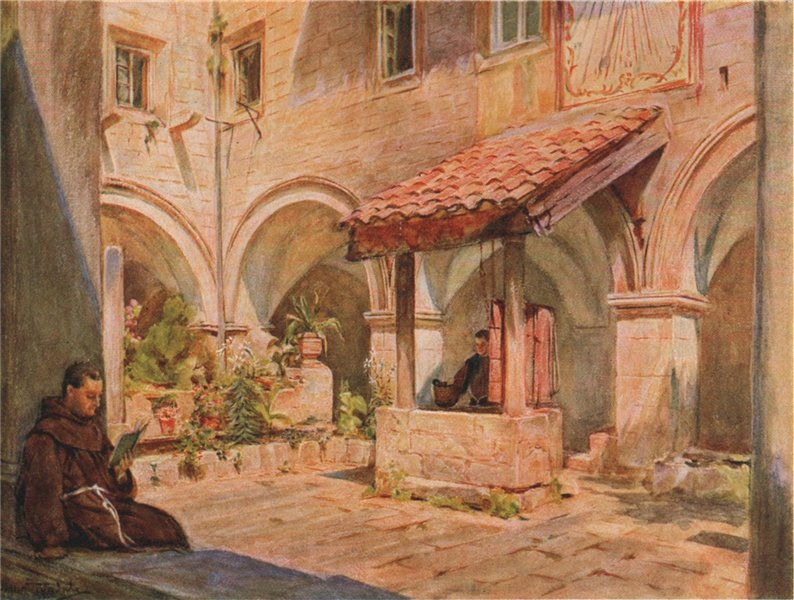 Associate Product Franciscan Monastery upper cloister, Dubrovnik, by Walter Tyndale 1925 print