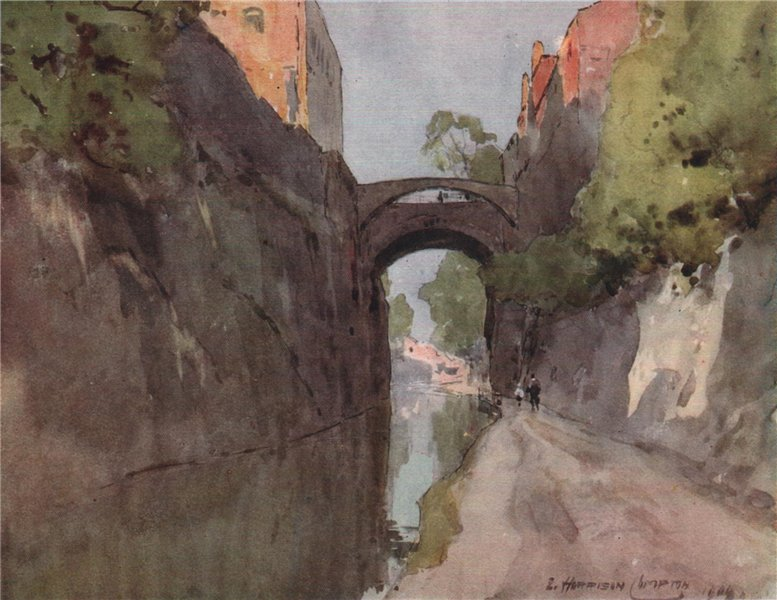 Associate Product The Canal and Bridge of Sighs, Chester, by Edward Harrison Compton 1910 print