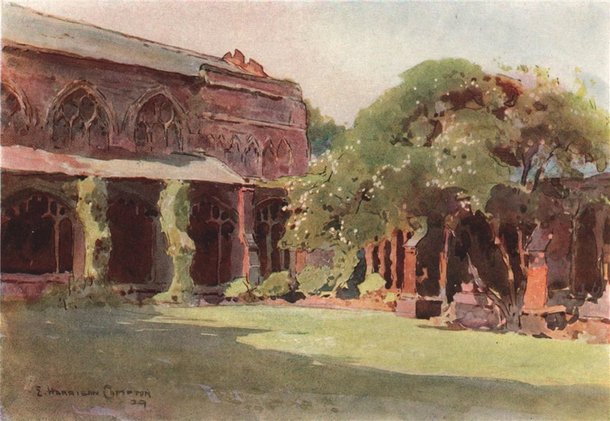 The Cloister Garth, north-east corner, Chester, by Edward Harrison Compton 1910