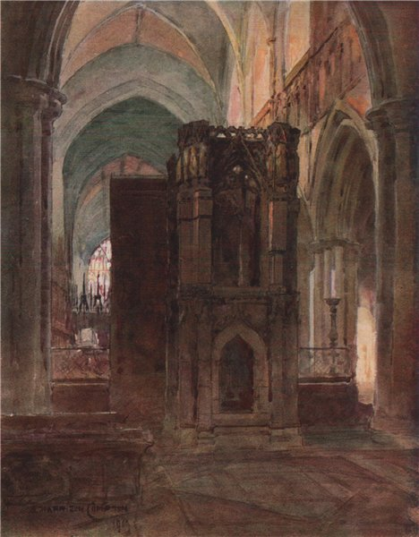 Associate Product St. Werburgh's Shrine, Chester, by Edward Harrison Compton 1910 old print