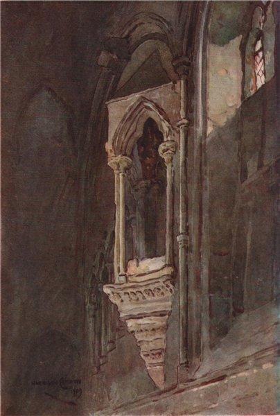 Associate Product Lectern in the refectory, Chester, by Edward Harrison Compton 1910 old print