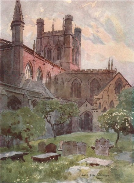 Associate Product Cathedral from north-east, Chester, by Edward Harrison Compton 1910 old print
