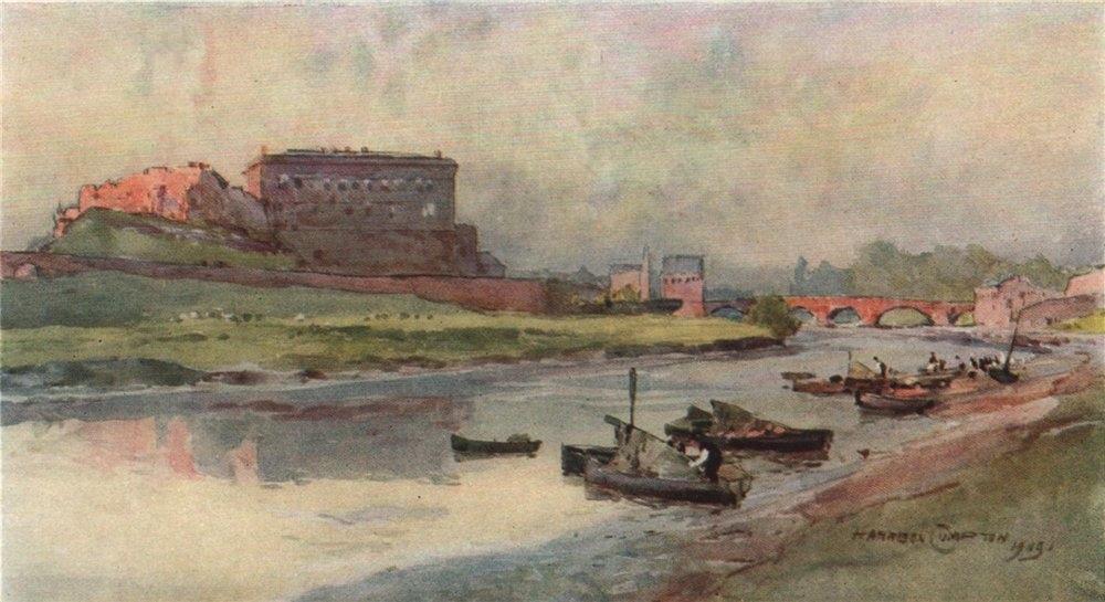 Associate Product Chester Castle & bridge. Salmon-fisher's boats. Edward Harrison Compton 1910
