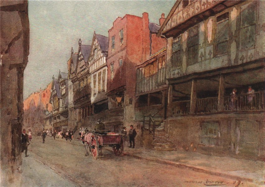 Associate Product Watergate Street, Chester, by Edward Harrison Compton 1910 old antique print