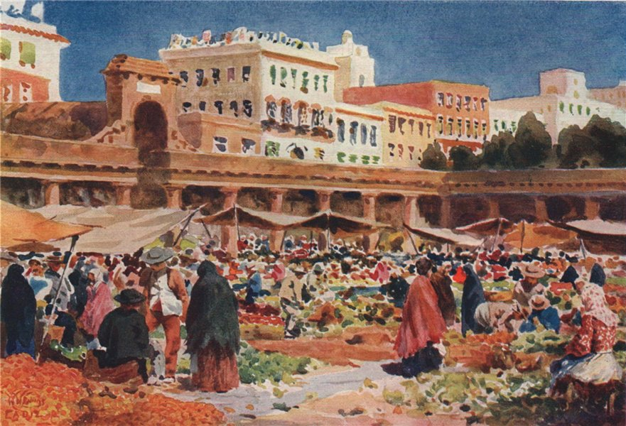 Associate Product The market place, Cadiz, Spain, by William Wiehe Collins 1909 old print