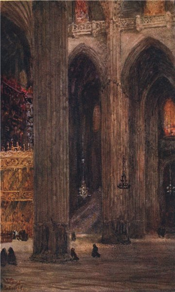 Associate Product In the cathedral, Seville, Spain, by William Wiehe Collins 1909 old print