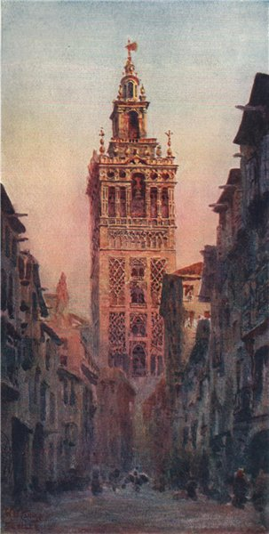 Associate Product The Giralda tower, Seville, Spain, by William Wiehe Collins 1909 old print