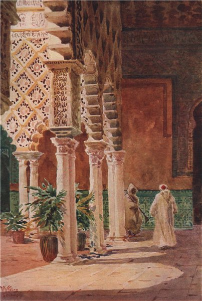 Associate Product Alcázar, Patio de las Doncellas, Seville, Spain, by William Wiehe Collins 1909