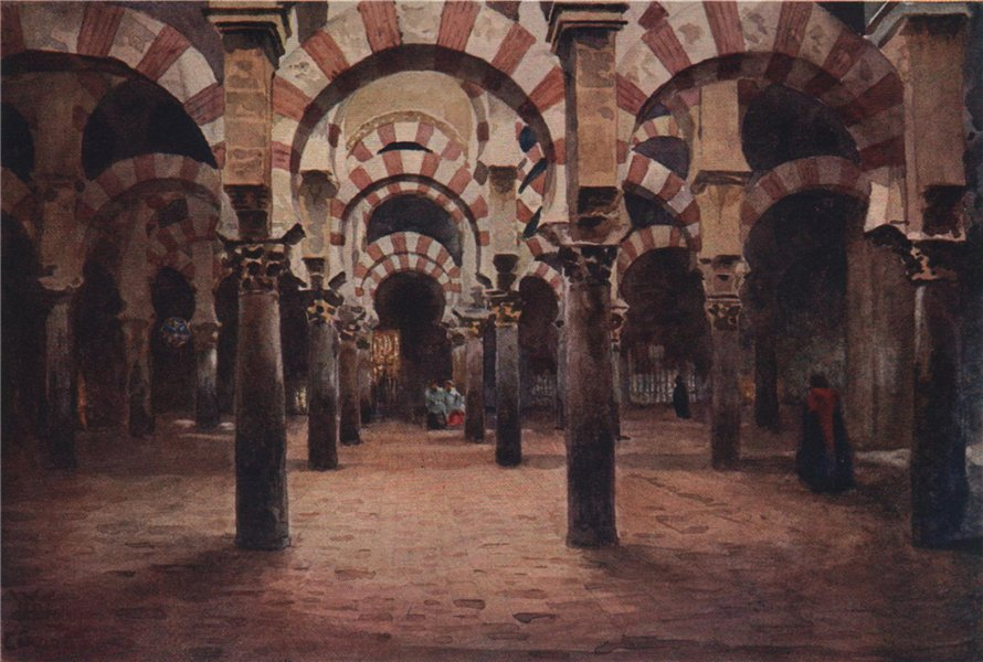 Associate Product Interior of the Mesquita, Cordoba, Spain, by William Wiehe Collins 1909 print