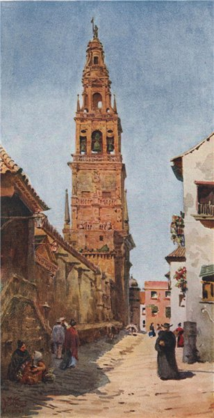 Associate Product The Campanario tower, Cordoba, Spain, by William Wiehe Collins 1909 old print