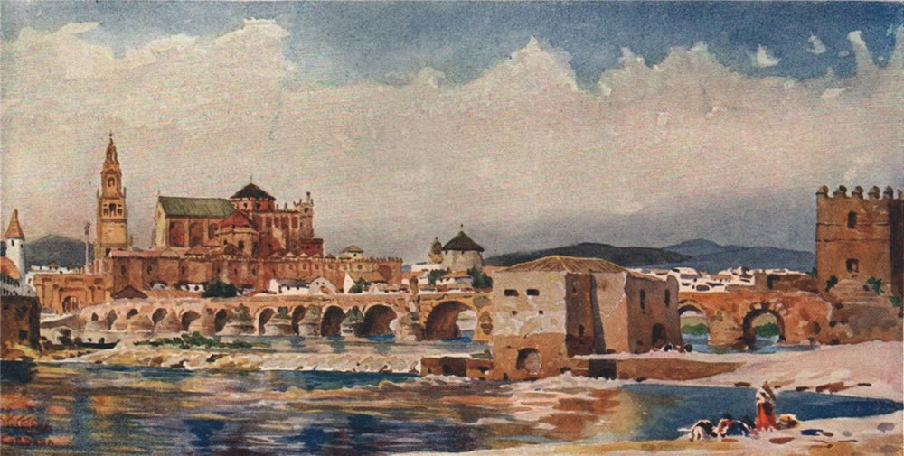 Associate Product The bridge, Cordoba, Spain, by William Wiehe Collins 1909 old antique print