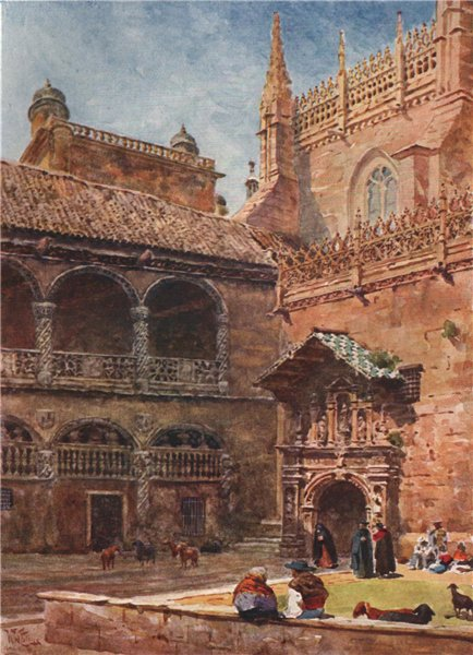 Associate Product Exterior of the cathedral, Granada, Spain, by William Wiehe Collins 1909 print