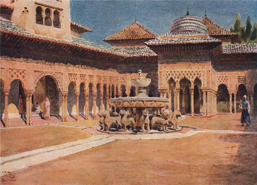 Associate Product The Alhambra, Court of Lions, Granada, Spain, by William Wiehe Collins 1909