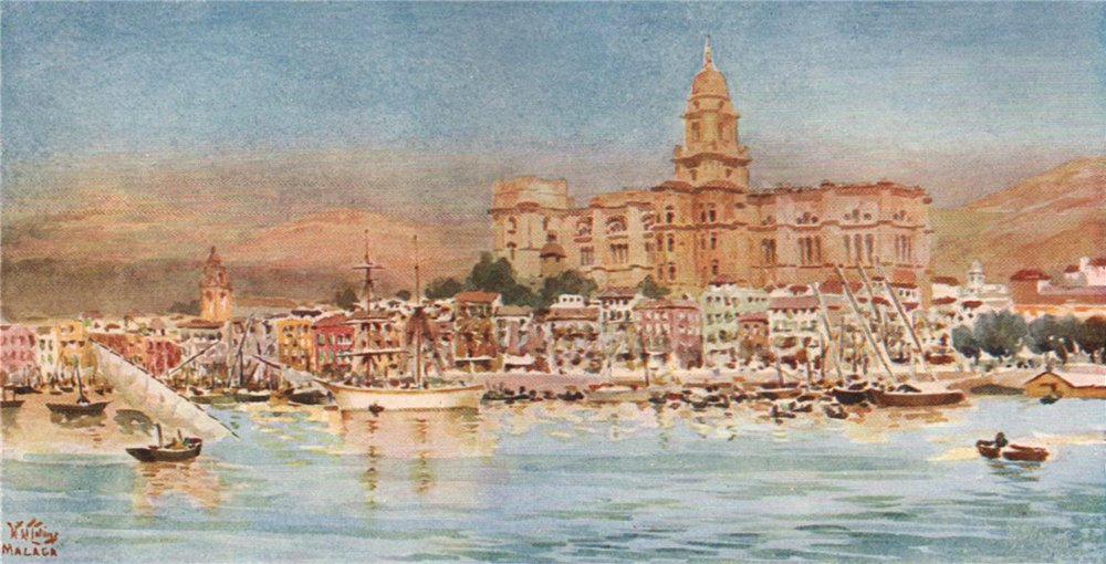 Associate Product View from the harbour, Malaga, Spain, by William Wiehe Collins 1909 old print
