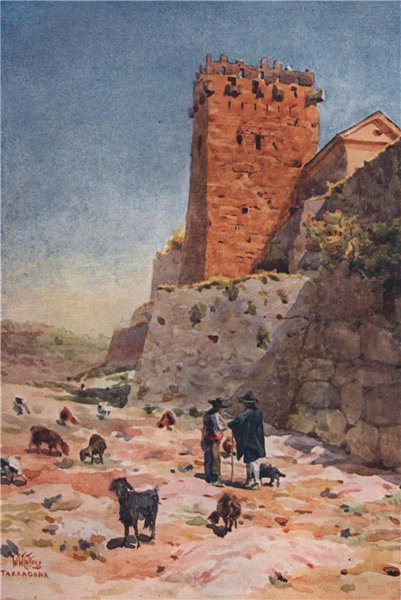 Associate Product The Archbishop's Tower, Tarragona, Spain, by William Wiehe Collins 1909 print
