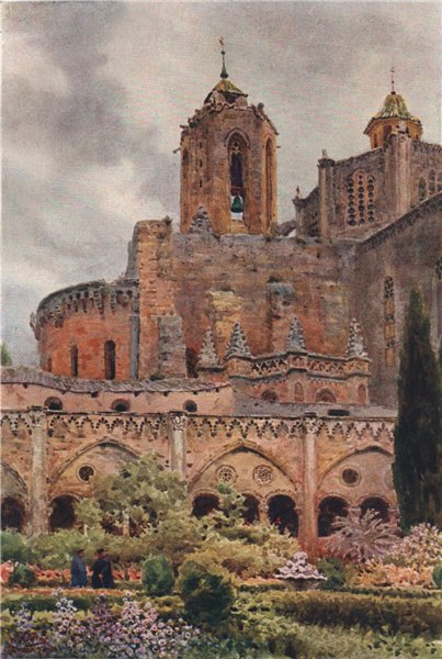 Associate Product The cloisters, Tarragona, Spain, by William Wiehe Collins 1909 old print