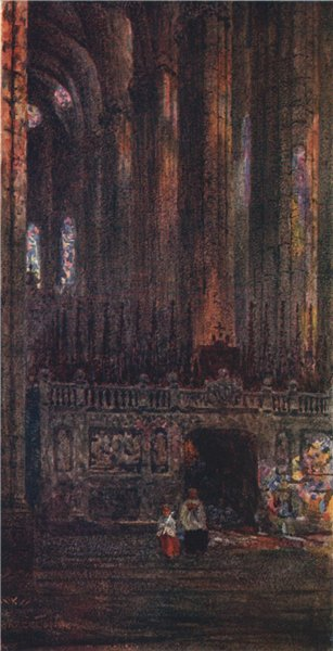 In the cathedral, Barcelona, Spain, by William Wiehe Collins 1909 old print