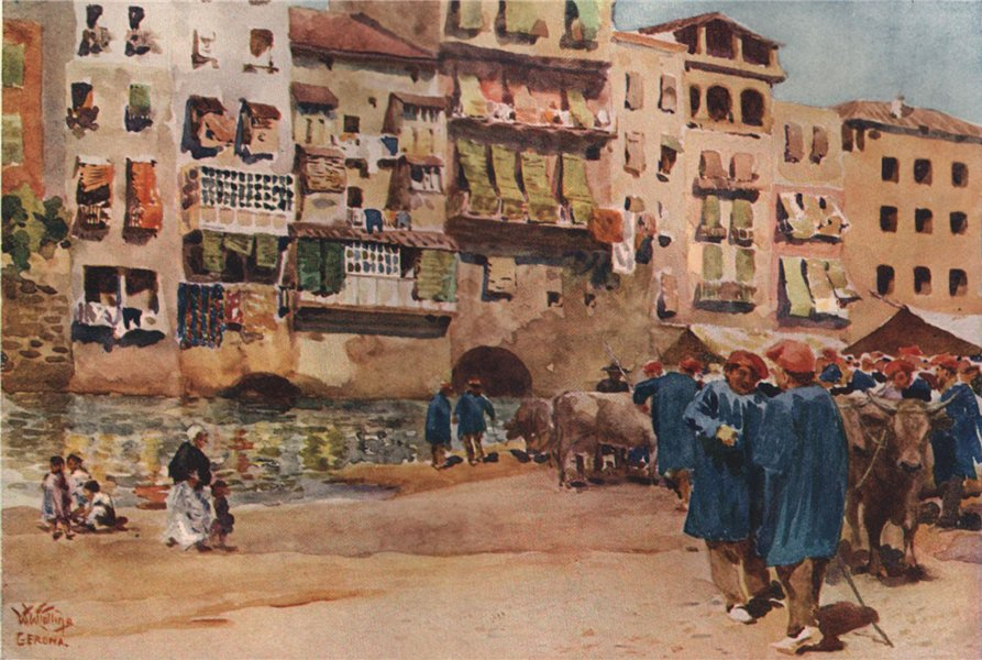 Associate Product The cattle market, Girona, Spain, by William Wiehe Collins 1909 old print