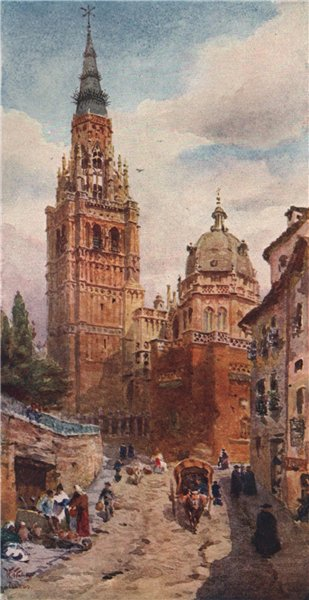 Associate Product The cathedral, Toledo, Spain, by William Wiehe Collins 1909 old antique print