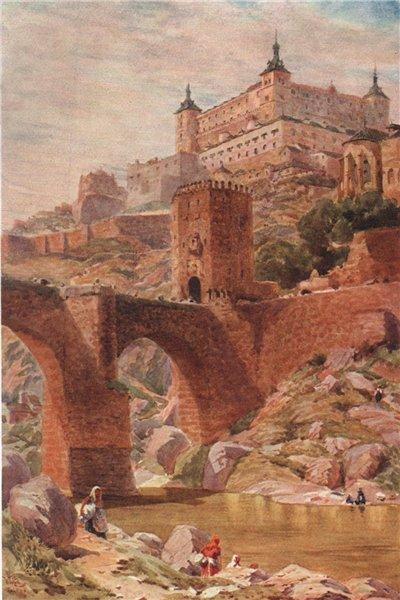 Associate Product The Alcantara bridge, Toledo, Spain, by William Wiehe Collins 1909 old print