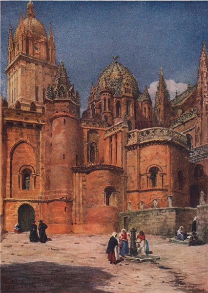 Associate Product The old cathedral, Salamanca, Spain, by William Wiehe Collins 1909 print