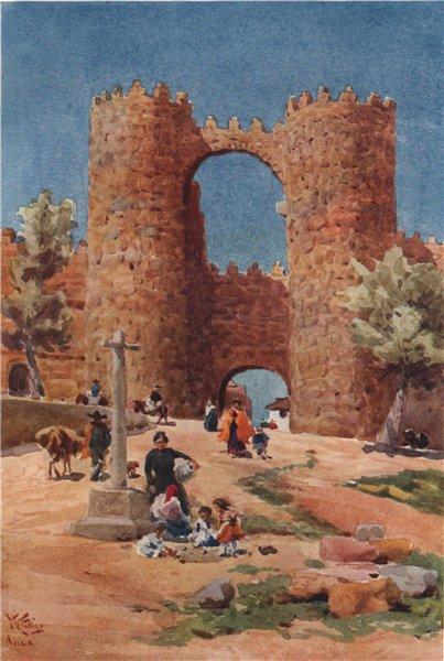 Associate Product Puerta de San Vicente, Avila, Spain, by William Wiehe Collins 1909 old print