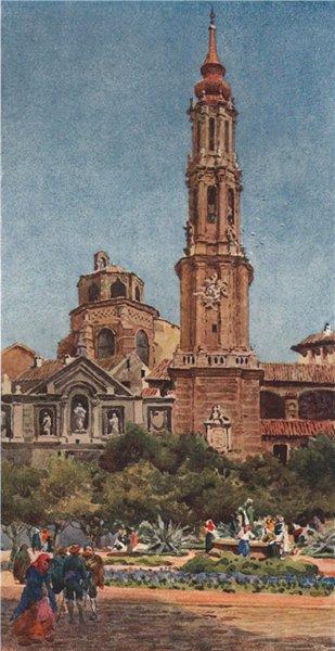 Associate Product La Seo, Zaragoza/Saragossa, Spain, by William Wiehe Collins 1909 old print