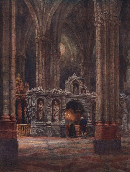 Associate Product In the Old Cathedral, Zaragoza/Saragossa, Spain, by William Wiehe Collins 1909