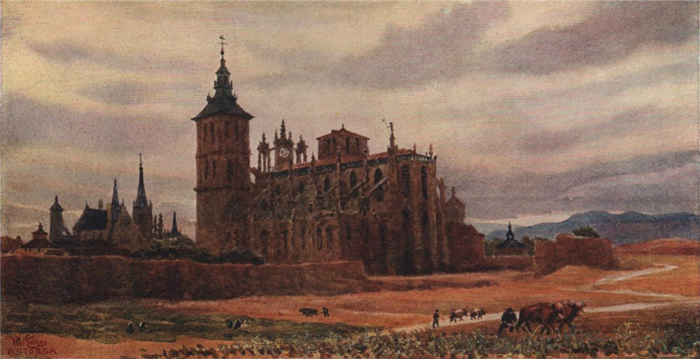 Astorga, Spain, by William Wiehe Collins 1909 old antique print picture
