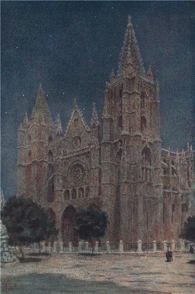 Associate Product The cathedral, Leon, Spain, by William Wiehe Collins 1909 old antique print