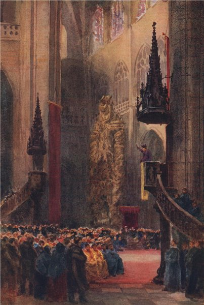 Associate Product In the cathedral, Oviedo, Spain, by William Wiehe Collins 1909 old print