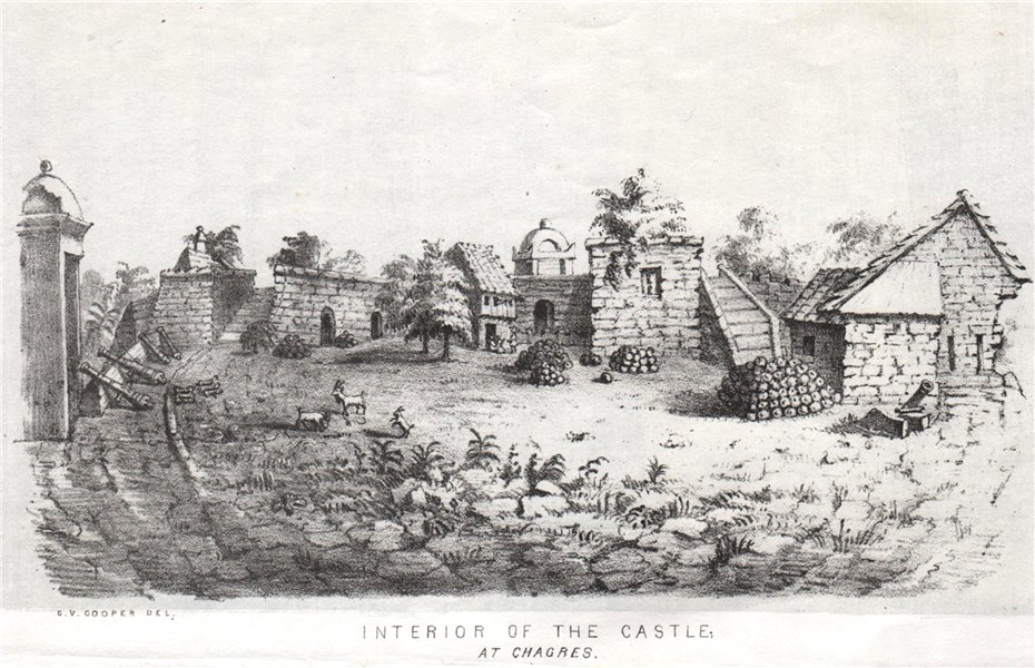 Associate Product 'Interior of the castle at Chagres'. Fort San Lorenzo, Panama, by G Cooper 1853