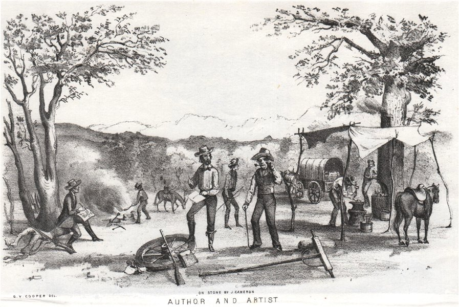 'Author and artist', California gold rush, lithograph by George Cooper 1853