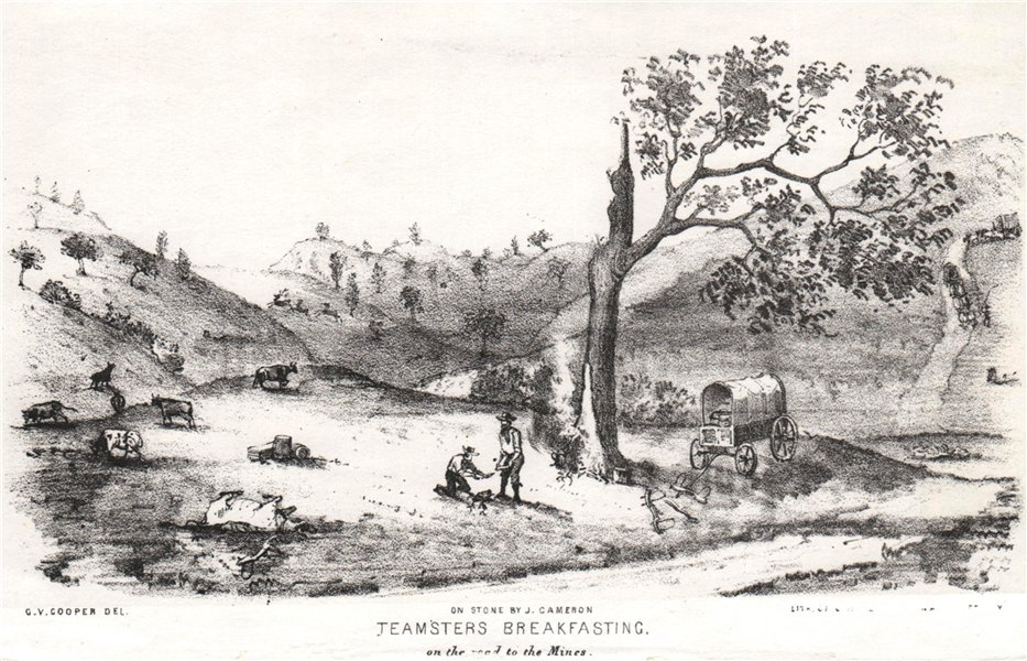 Associate Product 'Teamsters breakfasting on the road to the mines', California, by G. Cooper 1853