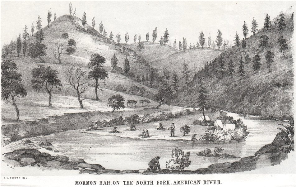 Associate Product 'Mormon Bar on the North Fork, American River' California gold rush. Cooper 1853