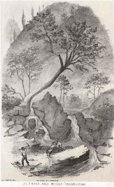 Associate Product 'J.C.Tracy & myself prospecting', California gold rush. George Cooper 1853