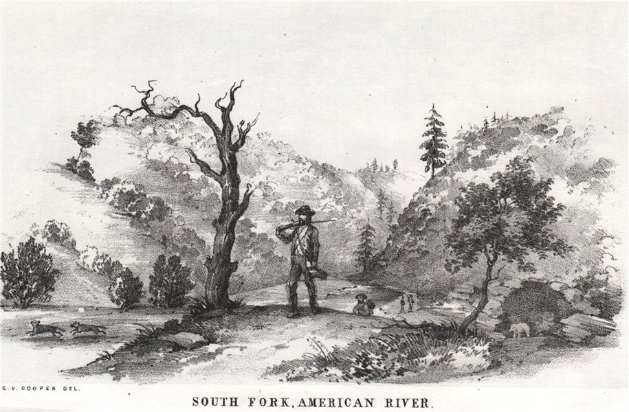 Associate Product 'South Fork, American River', California gold rush. George Cooper litho 1853