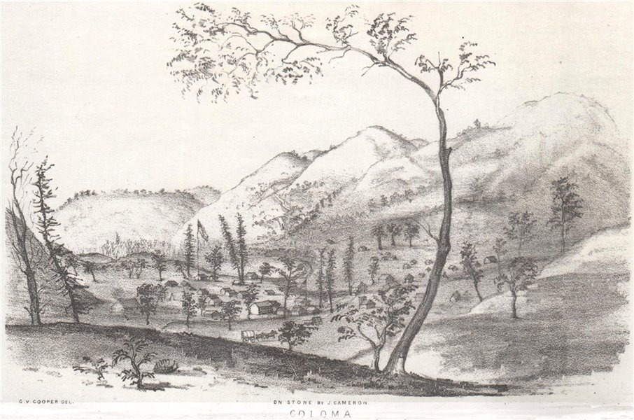 Associate Product 'Coloma', California gold rush, lithograph by George Cooper 1853 print