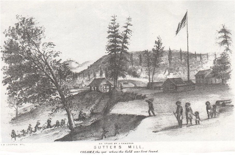Associate Product 'Sutter's Mill, Coloma…where gold was first found', California. G. Cooper 1853