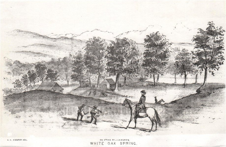 Associate Product 'White Oak Spring', California gold rush, lithograph by George Cooper 1853