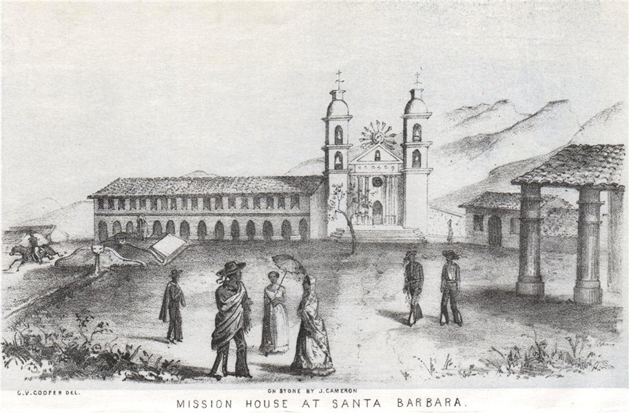 Associate Product 'Mission House at Santa Barbara', California, lithograph by George Cooper 1853