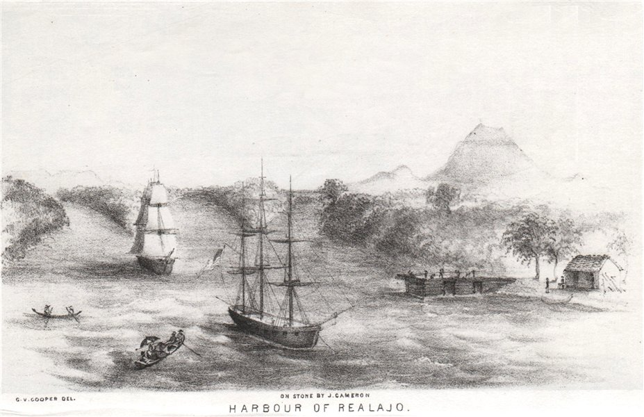 Associate Product 'Harbour of Realajo', Nicaragua, lithograph by George Cooper. El Realejo 1853