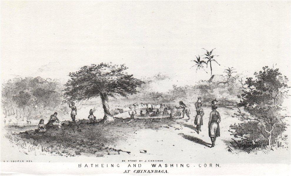 'Batheing and washing corn at Chinandaga', Nicaragua. G. Cooper. Chinandega 1853