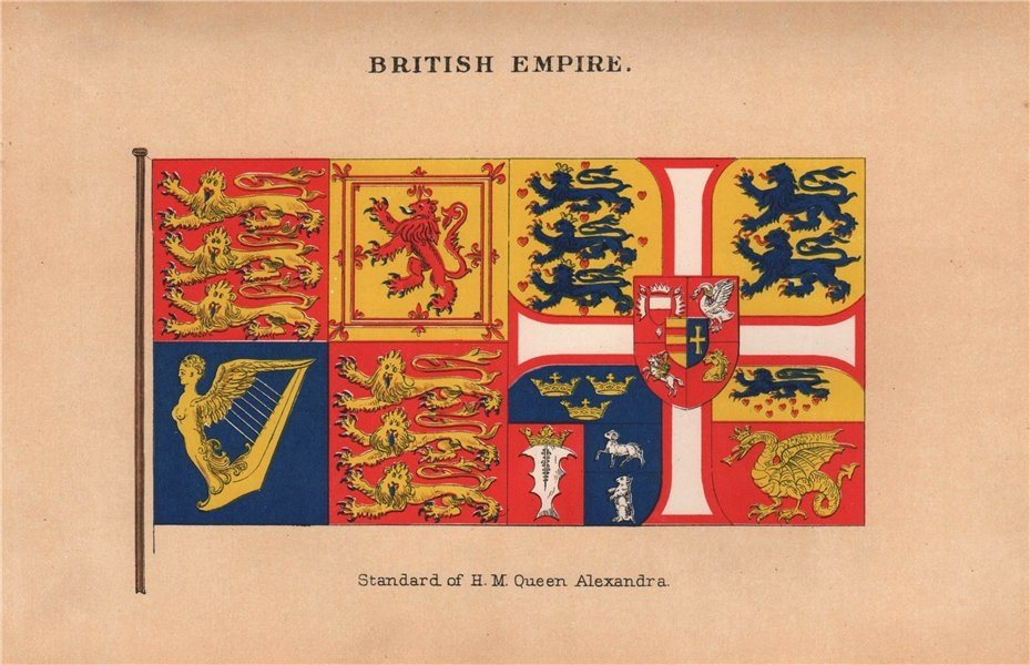 Associate Product BRITISH EMPIRE FLAGS. Standard of H.M. Queen Alexandra 1916 old antique print