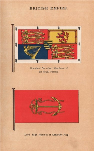 Associate Product BRITISH EMPIRE FLAGS. Royal Family Members Standard. Admiralty flag 1916 print