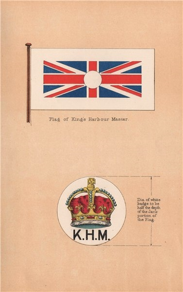Associate Product BRITISH EMPIRE FLAGS. King's Harbour Master Flag & Badge 1916 old print
