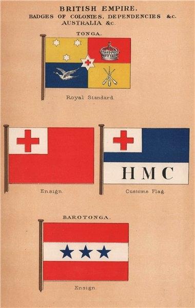 Associate Product BRITISH EMPIRE TONGA & BAROTONGA FLAGS. Royal Standard. Ensign. Customs 1916
