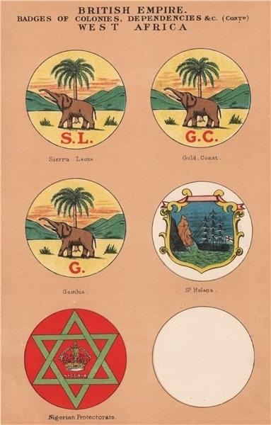 BRITISH WEST AFRICA BADGES Sierra Leone Gold Coast Gambia St Helena Nigeria 1916