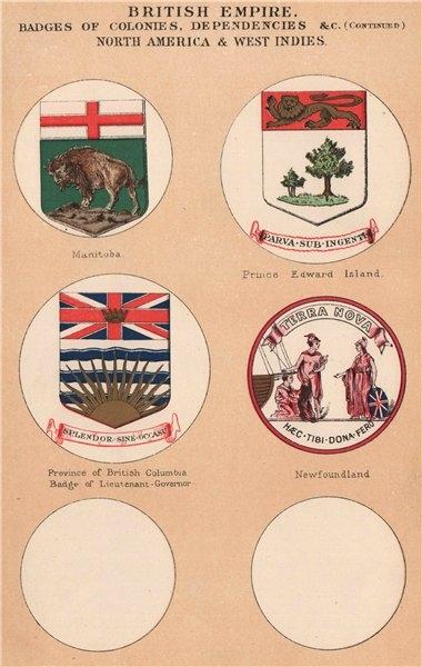 Associate Product BRITISH CANADA BADGES. Manitoba. PEI. British Columbia. Newfoundland 1916