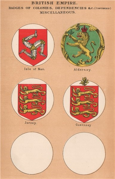 Associate Product BRITISH DEPENDENCIES FLAGS. Isle of Man. Alderney. Jersey. Guernsey 1916 print